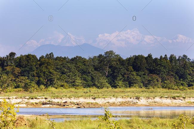 Manaslu mountain range rising 8000m plus in the Himalayas, above the Terai plains, Chitwan National Park, UNESCO World Heritage Site, Nepal, Asia