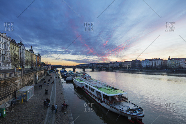 January 6, 2018: Canal boat on Vltava River, Prague, Czech Republic, Europe