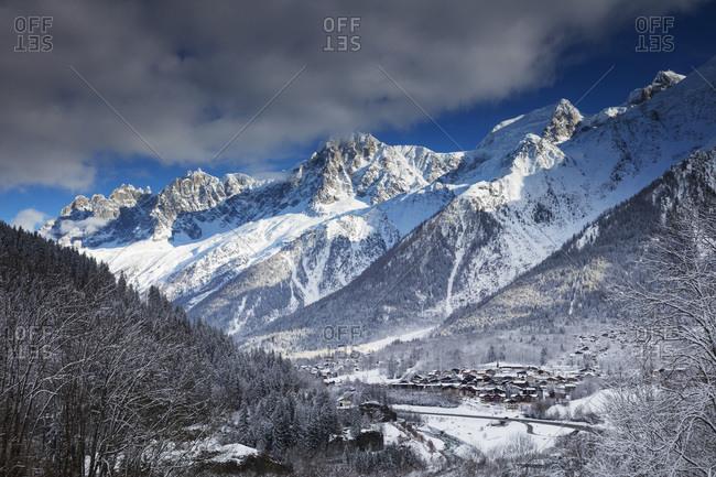 February 3, 2018: Les Houches village below Mont Blanc, Chamonix, Haute Savoie, Rhone Alpes, France, Europe