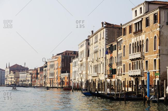 January 28, 2018: Historic Venetian buildings on the Grand Canal, Venice, UNESCO World Heritage Site, Veneto, Italy, Europe
