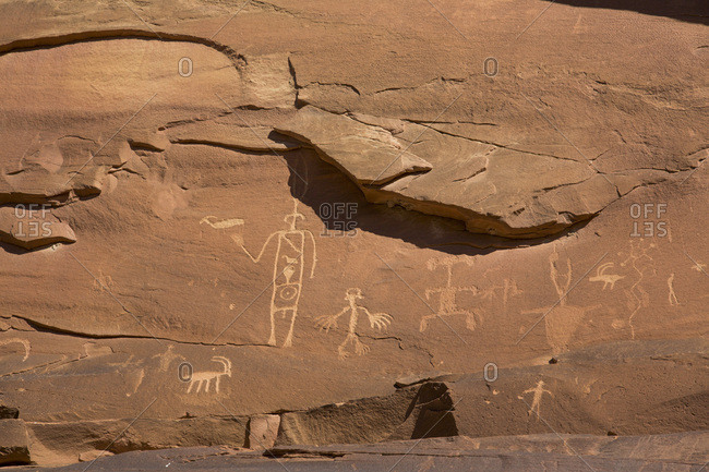 Ancestral Puebloan Petroglyphs, Upper Sand Island, Bears Ears National Monument, Utah, United States of America, North America