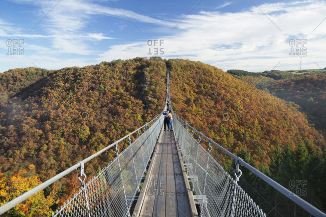 Swing Bridge Geierlay, Moersdorf, Hunsruck, Rhineland-Palatinate, Germany, Europe