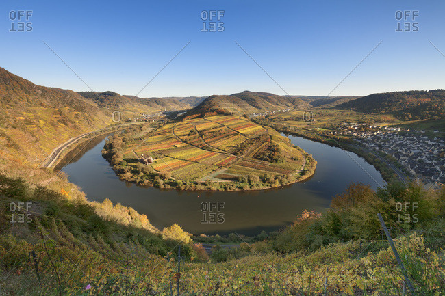 Loop of Moselle River with Calmont Hill near Bremm, Rhineland-Palatinate, Germany, Europe