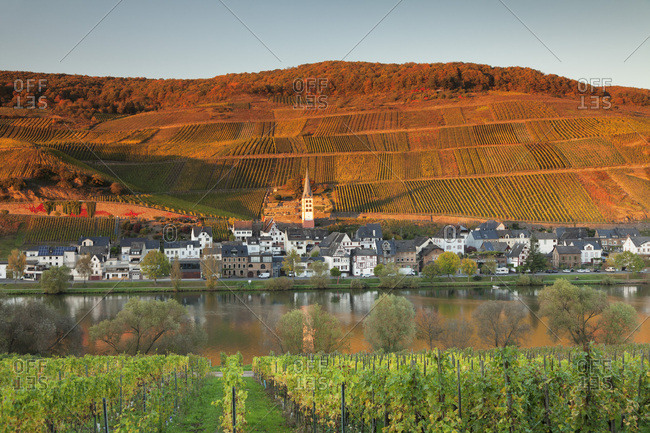 October 14, 2017: View of Merl district, Moselle Valley, Zell an der Mosel, Rhineland-Palatinate, Germany, Europe