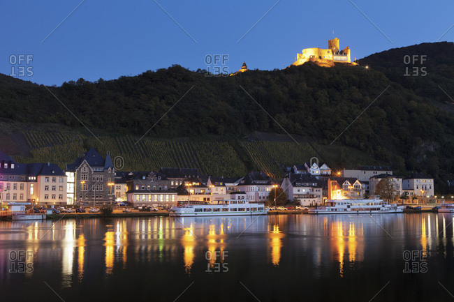 October 16, 2017: View over Moselle River to Bernkastel-Kues, ruins of Landshut Castle, Rhineland-Palatinate, Germany, Europe