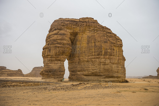 February 15, 2018: Giant arch in the Elephant rock, Al Ula, Saudi Arabia, Middle East