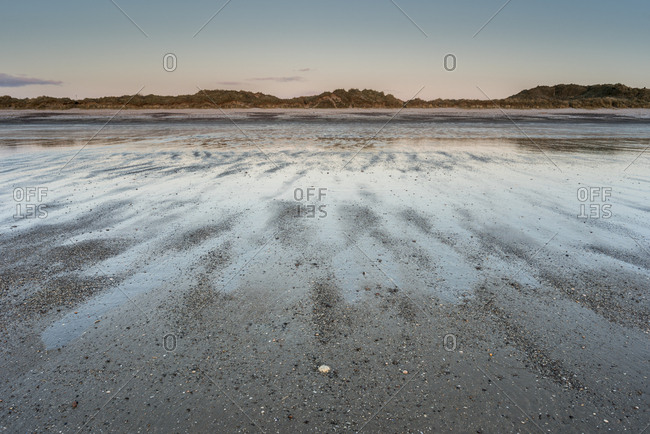 Oxwich beach at low tide at dawn, Gower Peninsula, South Wales, United Kingdom, Europe