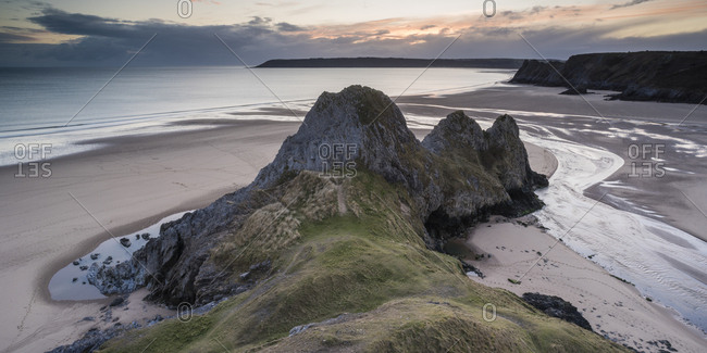 Three Cliffs Bay at sunset, Gower Peninsula, South Wales, United Kingdom, Europe