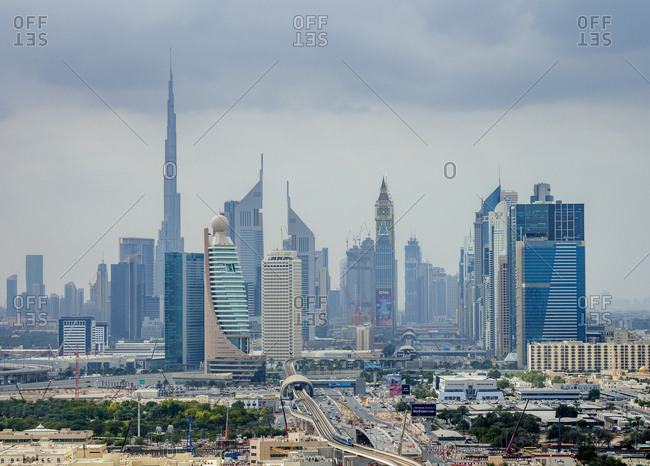 January 4, 2018: Financial Centre and Downtown, elevated view, Dubai, United Arab Emirates, Middle East