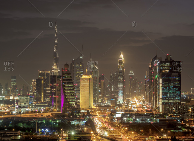 January 4, 2018: Financial Centre and Downtown at dusk, elevated view, Dubai, United Arab Emirates, Middle East