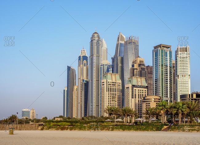 January 7, 2018: Dubai Marina JBR Beach, Dubai, United Arab Emirates, Middle East