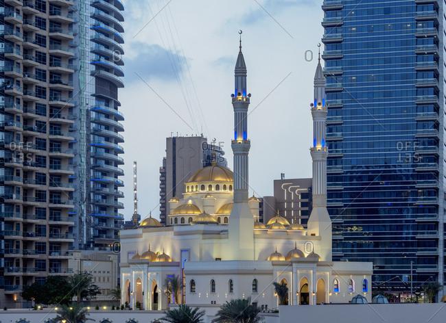 January 7, 2018: Mohammed Bin Ahmed Almulla Mosque, Dubai Marina, Dubai, United Arab Emirates, Middle East