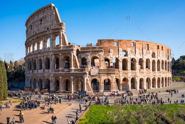 February 11, 2018: The Colosseum (Flavian Amphitheatre), UNESCO World Heritage Site, Rome, Lazio, Italy, Europe