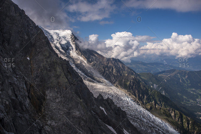 The Bossons Glacier one of the large glaciers of the Mont Blanc massif of the Alps, found in the Chamonix valley of Haute-Savoie, Rhone Alpes, France, Europe