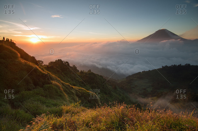Golden sunrise at Sikunir, Java, Indonesia, Southeast Asia, Asia