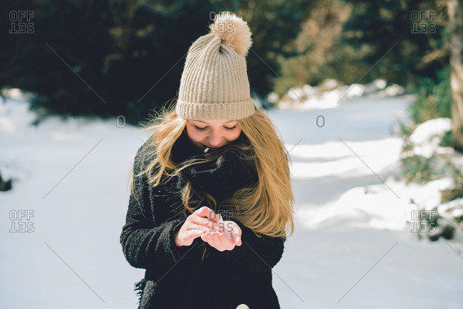 Woman smoking up in winter