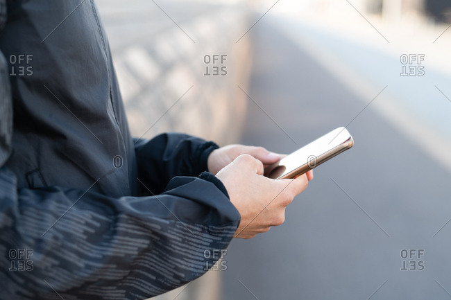 Close-up of a woman using her smartphone