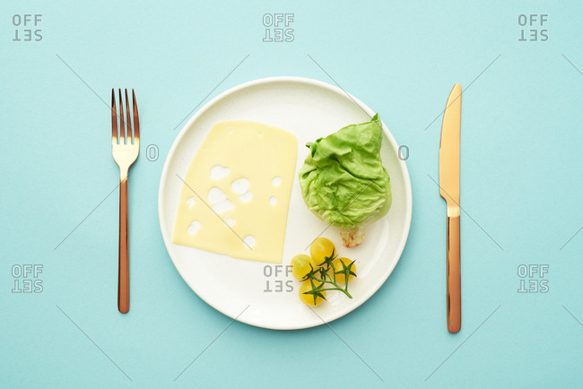 Cheese salad on plate