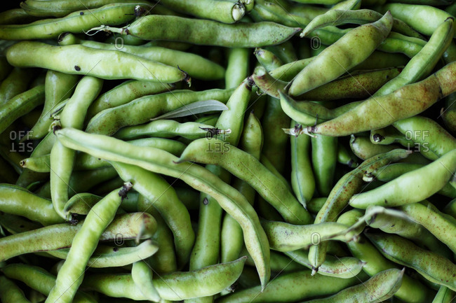 Close up of pile of green beans