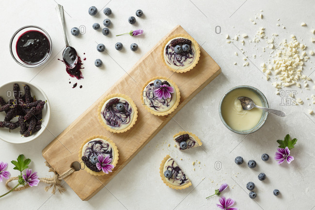 Blueberry and mulberry tarts in progress