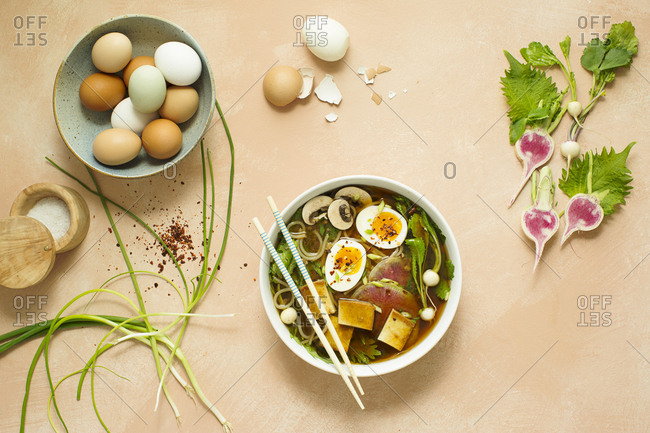 Vietnamese pho noodle soup and ingredients