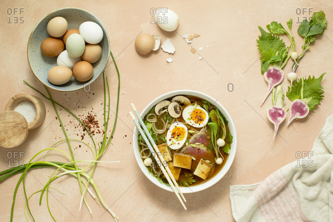 Vietnamese pho noodle soup with ingredients