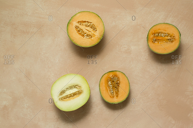 Overhead view of halved melons