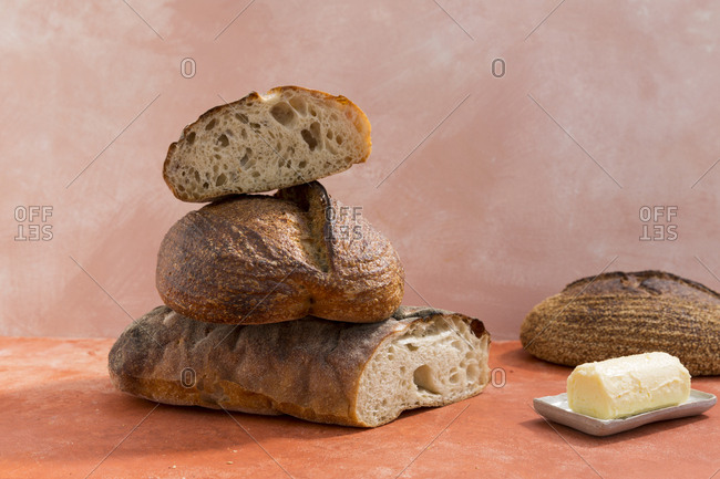 Stack of bread loaves