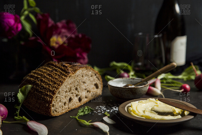 Bread and butter served with wine