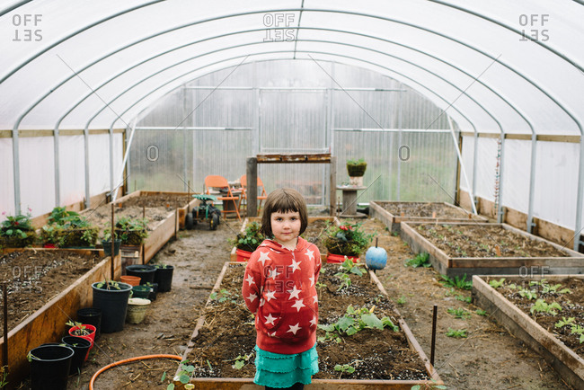 Portrait of young girl in greenhouse vegetable garden