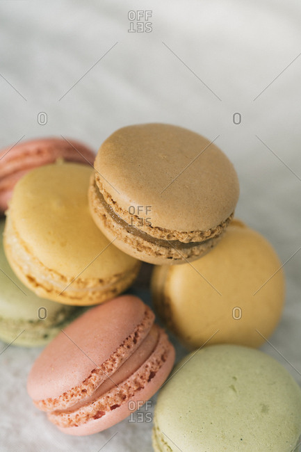 Close up of stack of colorful macarons