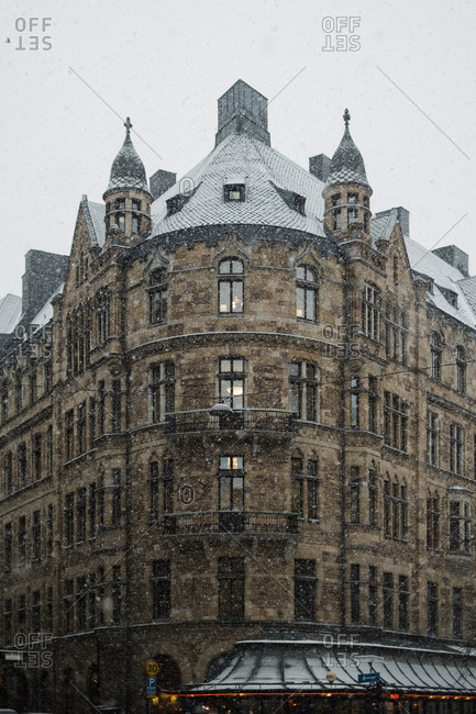 Building in Stockholm, Sweden on a snowy day