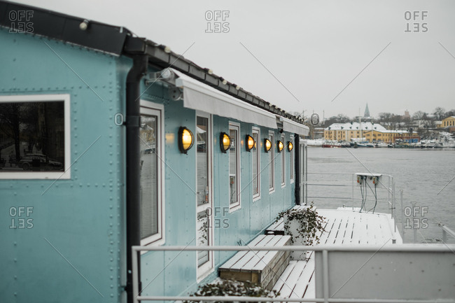 Blue houseboat in Stockholm, Sweden