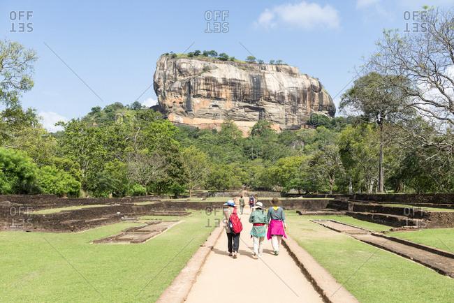 Sigiriya Rock, Sri Lanka - September 27, 2012: Tourist at Sigiriya Rock
