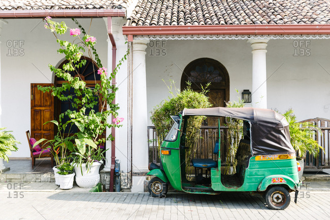Galle, Sri Lanka - October 14, 2012: Auto rickshaw parked in street