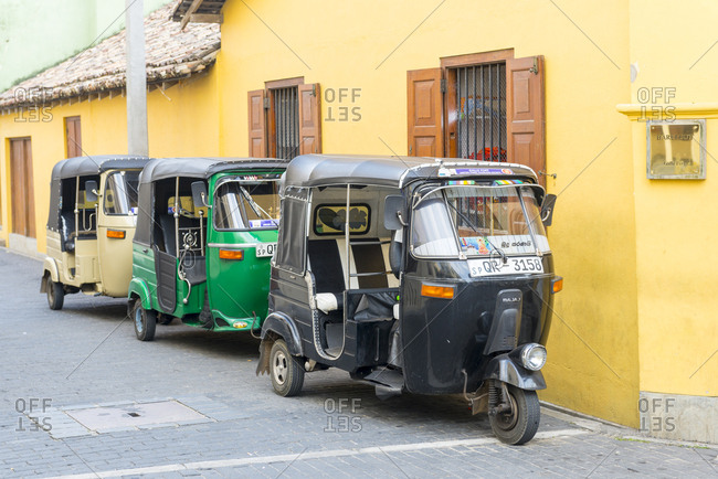 Galle, Sri Lanka - October 14, 2012: Auto rickshaws parked in the street