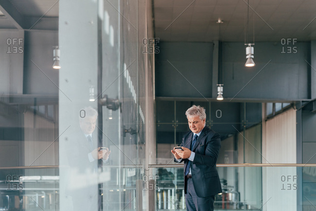 Middle-age businessman indoors using a smart phone