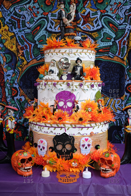 Oakland, California, USA - October 29, 2017: Decorated cake at Day of the Dead festival