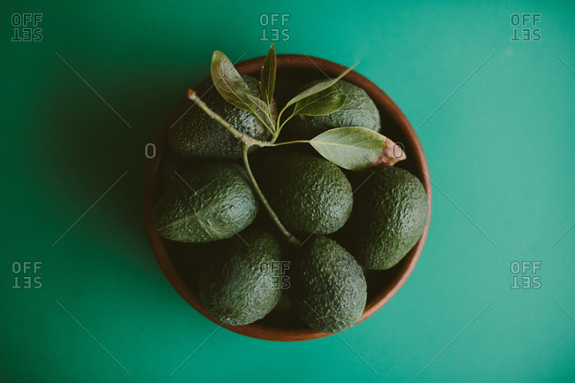 Bowl of avocados on green background
