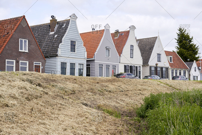 Amsterdam, Netherlands - May 18, 2018: Exterior of traditional Dutch houses in the village of Durgerdam