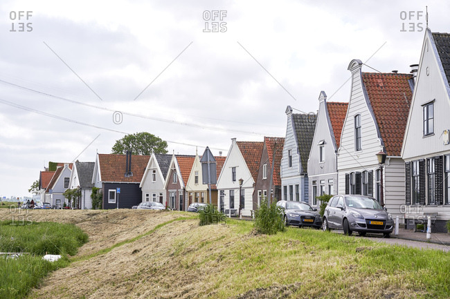 Amsterdam, Netherlands - May 18, 2018: Traditional Dutch houses in the village of Durgerdam