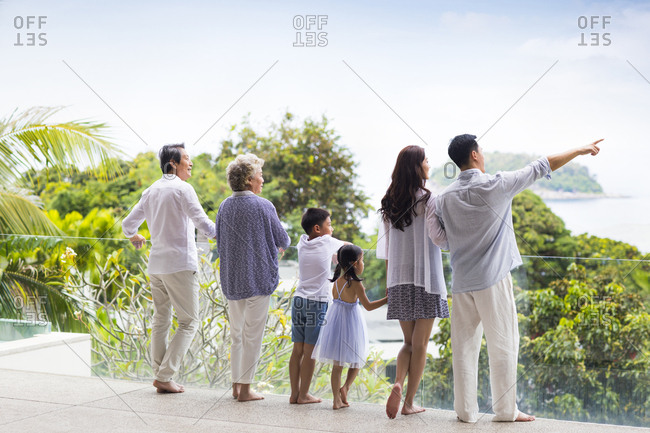 Happy Chinese family on vacation