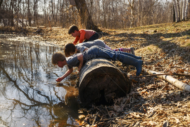 Three young children exploring a pond in the spring