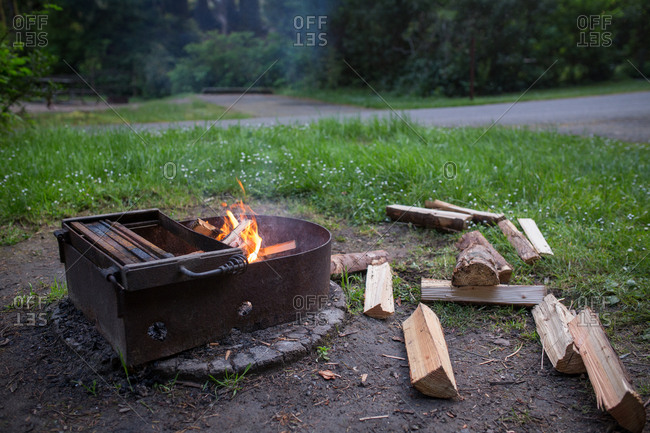 Firewood beside a burning fire
