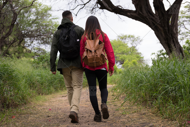 Rear view of couple walking together on a pathway in countryside