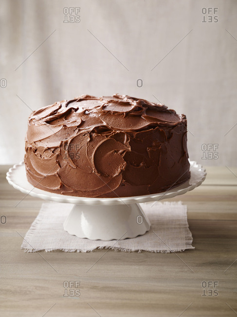 Chocolate Layer cake missing a slice