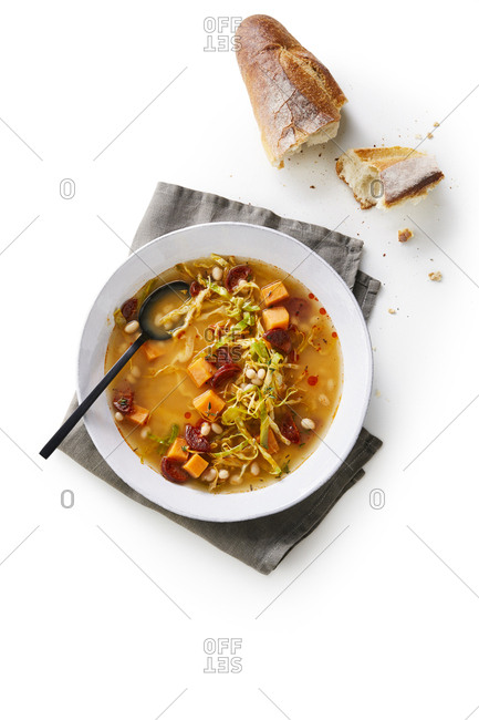 Chorizo and cabbage Soup with bread from above