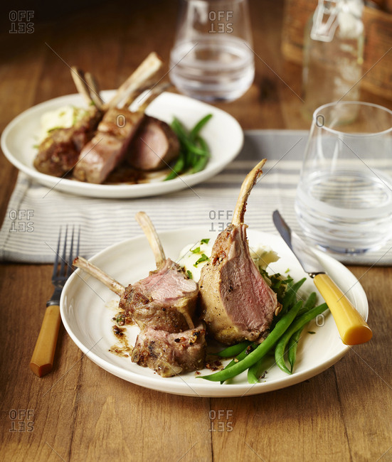 Rack of lamb dinner with green beans