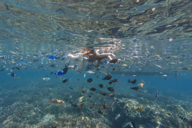 Woman snorkeling in sea