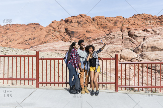 Friends talking selfie while standing by railing against sky at desert during sunny day